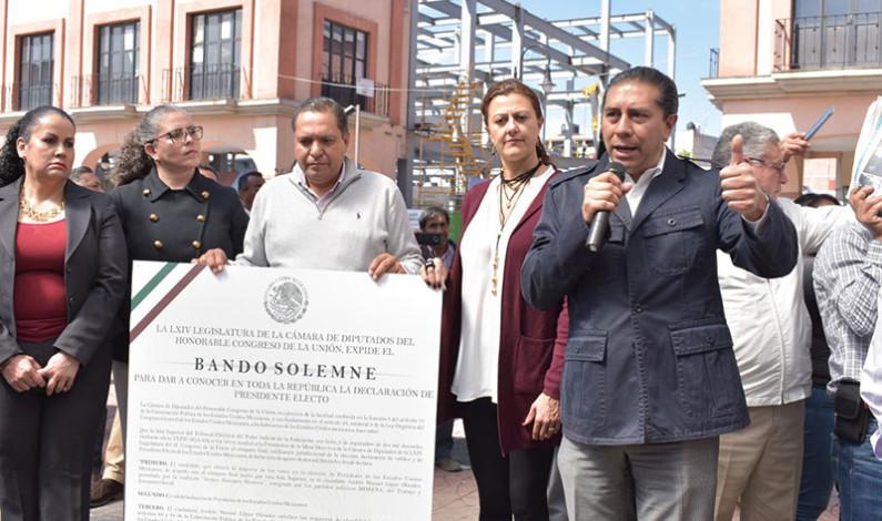 Hacen público el Bando Solemne en el que se reconoce a Andrés Manuel López Obrador como Presidente Electo de México
