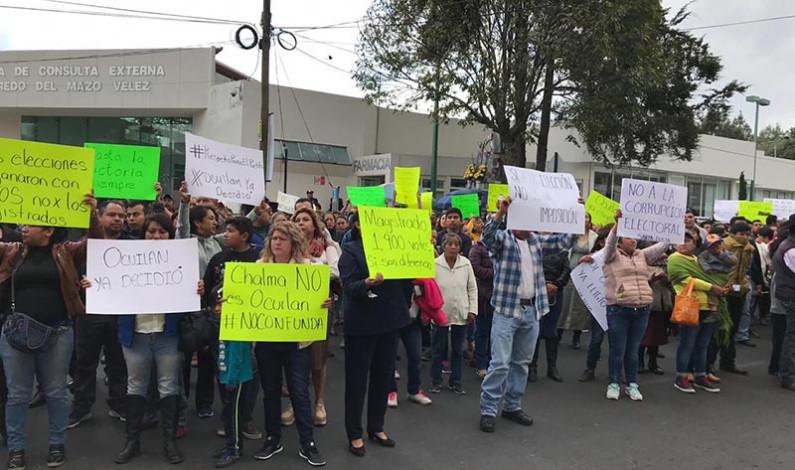 Cierran calles perredistas para protestar por anulación de elecciones en Ocuilan y Cocotitlán