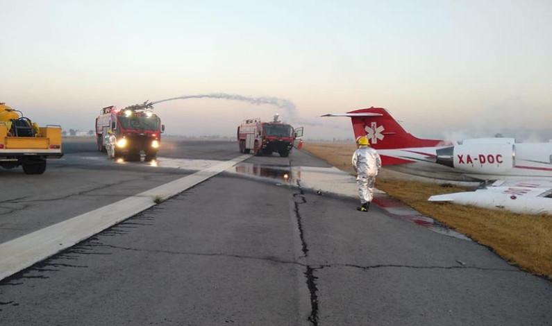 Aterriza de emergencia ambulancia aérea en Aeropuerto de Toluca