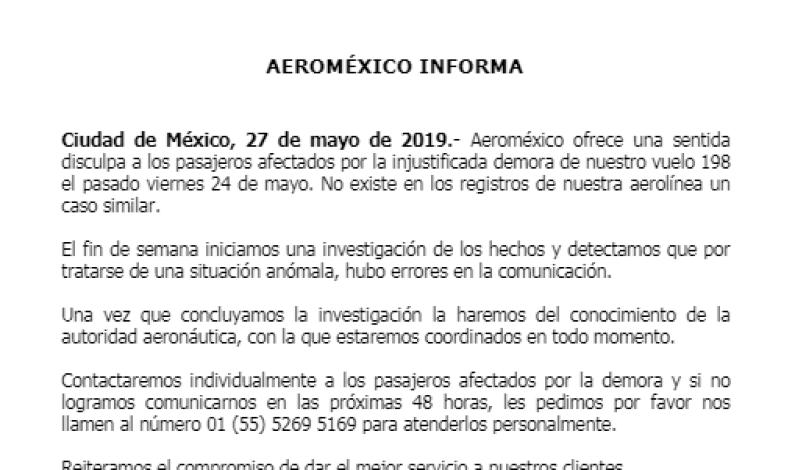 Aeroméxico se disculpa por retaso de vuelo donde viajaba la ex secretaria de la Semarnat