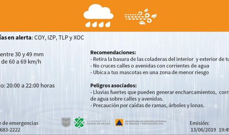 Activan alerta naranja por lluvias en la Ciudad de México