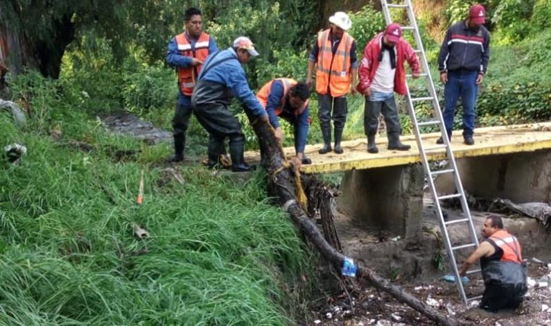 Provocaron inundaciones en Atizapán de Zaragoza 100 toneladas de basura