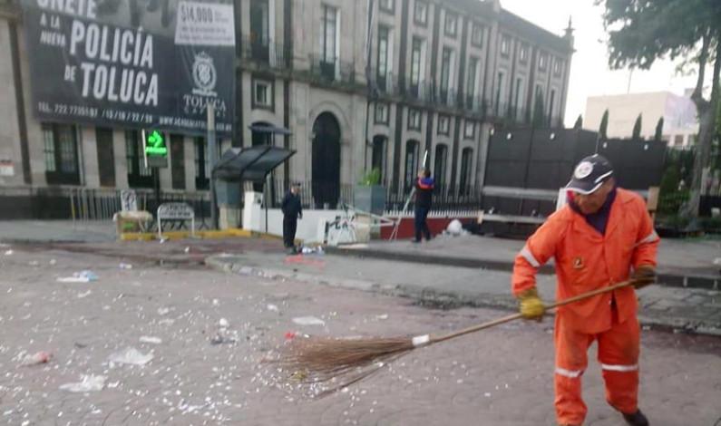 Dejaron las Fiestas Patrias más de 120 toneladas de basura en Toluca