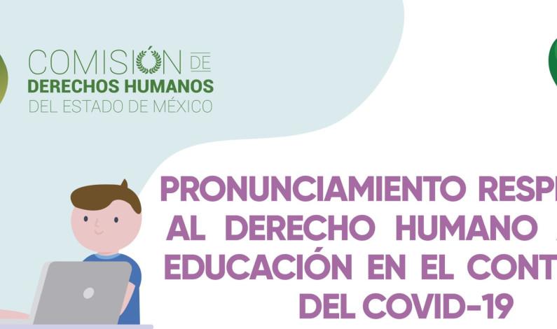 Exhorta CODHEM a garantizar derecho humano a la educación