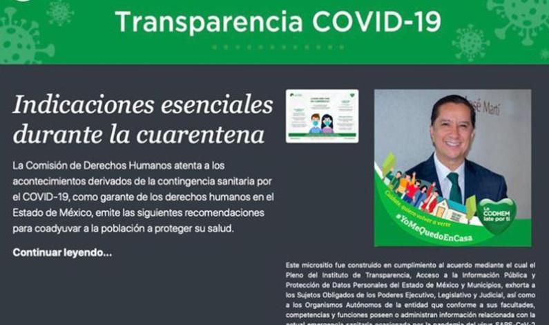 Crea CODHEM micrositio sobre COVID-19