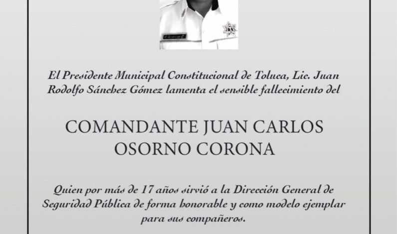 Fallece por COVID-19 policía de Toluca