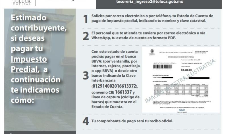 Llama Toluca a pagar impuestos desde casa